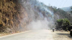 Smoke from Forest Fire Royalty Free Stock Photography