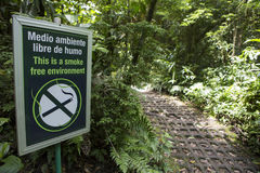 Smoke free environment sign in the forest Royalty Free Stock Image