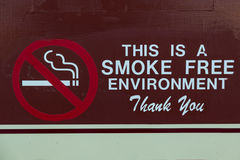 Smoke Free Sign. A no smoking sign that proclaims this is a smoke free enviornment area stock photo