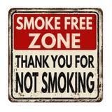 Smoke free zone.Thank you for not smoking vintage metal sign Stock Image