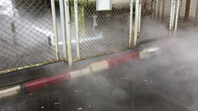 Free Smoke Gas Leak From Liquid Pipe In Factory Stock Photography - 183293702