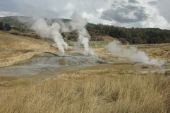 The smoke of geothermal energy. View of the smoke of geothermal energy royalty free stock photos