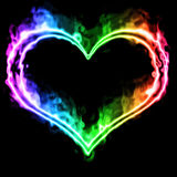 Smoke heart. Multi colored smoke heart background Stock Photography