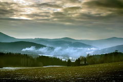 Smoke on the hill. In the mountain Royalty Free Stock Photography
