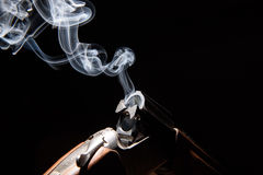 Smoke from a hunting rifle. After firing royalty free stock photos
