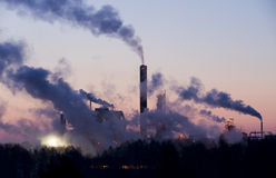 Smoke from industry an early morning Royalty Free Stock Photography