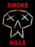 Smoke kills - poster. Poster: Figure made from cigarettes. Like human skull - smoke kills. Black background Royalty Free Stock Image