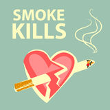 Smoke kills poster. Smoking harm concept. Cigarette pierces heart. Retro cartoon style. White contours. Vector illustration. Smoke kills poster. Smoking harm Royalty Free Stock Images