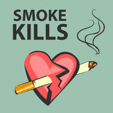 Smoke kills poster. Smoking harm concept. Cigarette pierces heart. Vector illustration. Stock Image