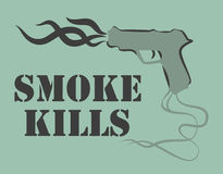 Smoke kills poster. Smoking harm concept. Gun with fume. Vector illustration. Stock Photo