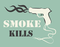Smoke kills poster. Smoking harm concept. Gun with fume. Vector illustration. Royalty Free Stock Photography