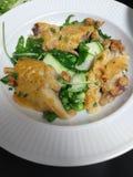 smoke fish salad peas courgette royalty free stock photos