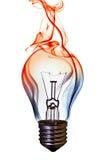 Smoke lamp bulb. Fire smoke lamp bulb art concept on white Royalty Free Stock Photos