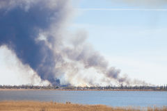 Smoke from the large fire. Stock Photography