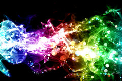 Smoke and lights. Colorful smoke with lights over black Stock Images