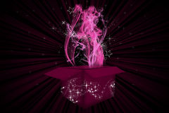 Smoke and Magic. Pink abstract background with smoke and magic coming out of a box Stock Photo