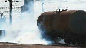 Smoke Near Cistern At Railway Station stock footage