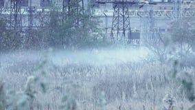 Smoke near power plant stock footage