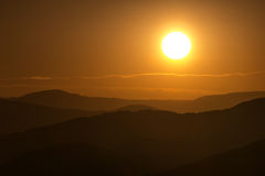 Smoke From Nearby Colorado Forest Fires Diffuses This Vail Sunset Royalty Free Stock Image