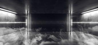 Smoke Neon Glowing Fluorescent Vibrant Led White Empty Stage Studio Club Dance Room Reflections Concrete Grunge Sci Fi Futuristic. Tunnel Hall Ultraviolet 3D stock illustration