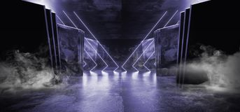 Smoke Neon Purple Violet Glowing Triangle Sci Fi Futuristic Virtual Spaceship Abstract Triangle Glossy Metal Concrete Grunge Dark. Empty Cinematic Corridor Room vector illustration
