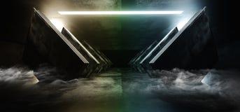 Smoke Neon Rainbow Glowing Circle Sci Fi Futuristic Virtual Spaceship Abstract Triangle Glossy Metal Concrete Grunge Dark Empty. Cinematic Corridor Room Hallway royalty free illustration