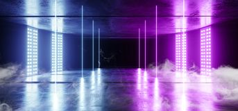 Smoke Neon Virtual Reality Dark Grunge Concrete Background Asphalt Optical Illusion Fluorescent Blue Purple Vibrant Glowing Empty. Space Sci Fi Futuristic royalty free illustration