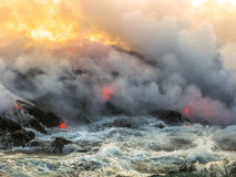 Smoke ok Kilauea. Smoke and steam given off by lava contact with the sea. Kilauea Volcano in Hawaii Volcanoes National Park, Big Island, United States Royalty Free Stock Image