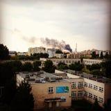 Smoke over city. Stock Photo