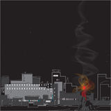 Smoke over a City. Fire in a modern city, night scene. Hand drawn illustration Stock Photo