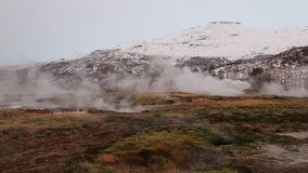 Smoke over geothermal area stock footage