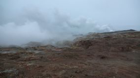 Smoke over geothermal area stock video