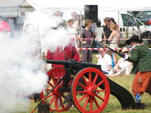 Smoke over the gun. Redbourn Carnival. 26.06.10 re-enactment of British Civil War (1642-1651 Stock Images