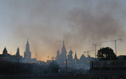 Smoke over Red Square and the Moscow Kremlin after festive firew Royalty Free Stock Photography