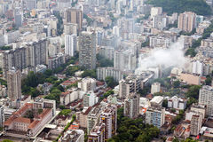 Smoke over residential area of Rio de Janeiro Royalty Free Stock Images