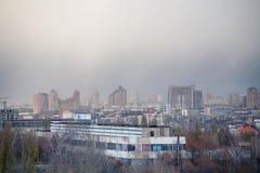 Smoke over town Stock Photo