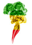 Smoke pillar colored in flag of reggae Stock Photography