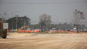 Smoke and pollution haze on highway Chiangmai road.