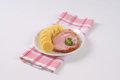 Smoke pork with potato dumplings and sauerkraut Stock Image
