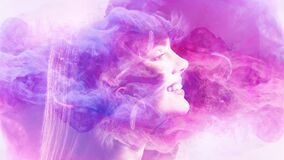 Smoke portrait fantasy dream happy woman face mist