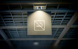 Smoke is prohibitted table in trade center Royalty Free Stock Image