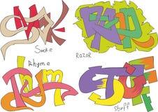 Smoke, razor, rhyme and stuff graffiti Royalty Free Stock Image