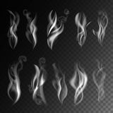 Smoke realistic 3D vector icons on transparent background Stock Photo
