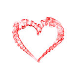 Smoke red heart for valentine day. Isolated on white Royalty Free Stock Photo