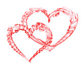Smoke red hearts for valentine day. Isolated on white Stock Photography