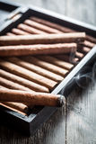 Smoke rising from a burning cigar Royalty Free Stock Image