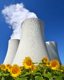 Smoke rising from cooling towers of nuclear power plant Royalty Free Stock Photos