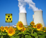 Smoke rising from cooling towers of nuclear power plant Royalty Free Stock Photography