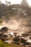 Smoke rising from hot springs . Royalty Free Stock Photography