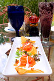 Smoke salmon appetizer. Delicious smoke salmon appetizer with shallow depth of field Royalty Free Stock Images